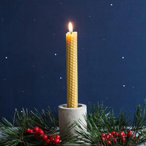 🇱🇹 Natūralaus vaško žvakė PAGAMINTA VIDUTĖS (13 cm)
