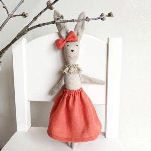 Lininė Kiškutė Rožė (34 cm) | LIGHT LOOK FASHION