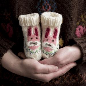🇱🇹 Eglės vilnonės kojinytės naujagimiams PIŠKIS MĖLYNIŲ KRŪME